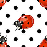 Seamless ladybugs and polka dots pattern. Seamless fun and cute detailed glossy ladybugs and black polka dots pattern over white background Royalty Free Stock Photo