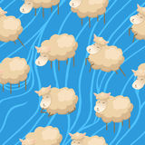 Seamless lambs clouds wallpaper Stock Photos