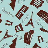 Seamless landmark pattern Stock Photos