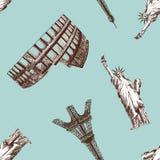 Seamless landmark pattern Stock Images