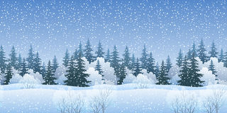Seamless Landscape with Christmas Trees. Christmas Holiday Seamless Horizontal Background, Winter Landscape, Fir Trees Silhouettes, Bushes and White Snow. Vector Stock Images