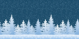 Seamless Landscape with Christmas Trees. Seamless Horizontal Winter Christmas Woodland Landscape with Fir Trees Silhouettes and Snowflakes. Vector Royalty Free Stock Photos