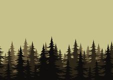 Seamless landscape, forest, silhouettes. Seamless background, landscape, night forest with fir trees silhouettes. Vector Stock Images