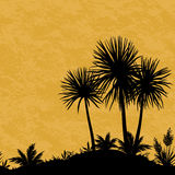 Seamless Landscape, Palms and Plants Silhouettes Royalty Free Stock Photos