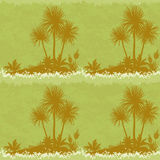 Seamless Landscape, Palms and Plants Silhouettes Stock Photography