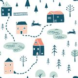 Seamless landscape pattern stock illustration