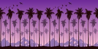 Seamless landscape pattern with silhouettes of palm trees on a background of brightly purple sunset sky and mountains. royalty free illustration