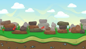 Seamless landscape with stones for game design Stock Image