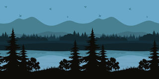 Seamless Landscape, Trees and Mountain Lake. Seamless Horizontal Night Forest Landscape, Trees on the Shore of a Mountain Lake and Birds in the Sky, Black and Royalty Free Stock Image