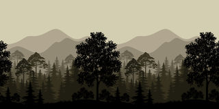Seamless Landscape, Trees and Mountain Silhouettes Stock Photography
