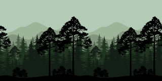 Seamless Landscape, Trees and Mountain Silhouettes. Seamless Horizontal Landscape, Evening Forest with Spruce Trees Silhouettes and Mountains. Vector Stock Images