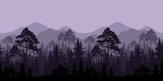Seamless Landscape, Trees and Mountain Silhouettes. Seamless Horizontal Landscape, Evening Forest with Spruce Trees Silhouettes and Mountains. Vector Royalty Free Stock Photo
