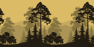 Seamless Landscape, Trees and Mountain Silhouettes. Seamless Horizontal Landscape, Evening Forest with Spruce Trees Silhouettes and Mountains. Vector Royalty Free Stock Photos