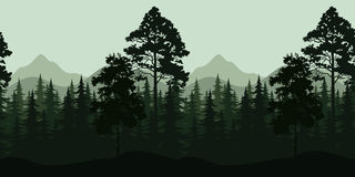 Seamless Landscape, Trees and Mountains. Seamless Horizontal Night Forest Landscape, Trees and Mountains Silhouettes. Vector Royalty Free Stock Photography