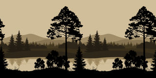 Seamless Landscape, Trees, River and Mountains. Seamless Horizontal Night Landscape, Trees, River and Mountains Silhouettes. Vector Stock Photo