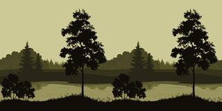 Seamless Landscape, Trees and River. Seamless Summer Evening Landscape, Trees Silhouettes and Forest River. Vector Stock Image