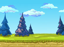 Seamless Landscape, Vector illustration. Seamless Landscape with a green meadow, fir-trees and mountains.. Vector illustration, possible to use for the game Royalty Free Stock Images