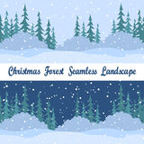 Seamless Landscapes, Christmas Trees. Set Christmas Holiday Seamless Horizontal Backgrounds, Winter Landscapes, Night and Day, Green Fir Trees Silhouettes Stock Image