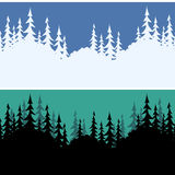 Seamless Landscapes, Fir Trees. Set Seamless Horizontal Backgrounds, Landscapes, Fir Trees Silhouettes, Winter White on Blue Sky for Christmas Holiday and Summer Stock Image