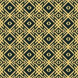 Seamless lattice pattern of V shaped elements and squares. Abstract seamless geometric pattern in blue-black and yellow colors. Interwoven V shaped elements and Stock Image