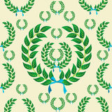 Seamless laurel wreath pattern. Laurel wreath with a skyblue ribbons seamless pattern background. Vector illustration layered for easy manipulation and vector illustration
