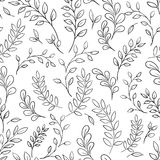 Seamless leaf black and white pattern. Royalty Free Stock Photos