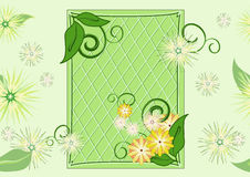Seamless leaf-and-flowers green pattern. Mostly green pattern with frame, leaves and flowers Royalty Free Stock Photo