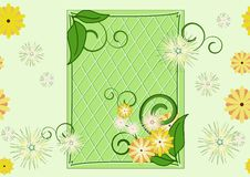Seamless leaf-and-flowers green pattern Royalty Free Stock Photos