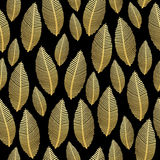 Seamless leaf pattern with gold foil texture on black Stock Image