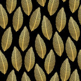 Seamless leaf pattern with gold foil texture on black Stock Images