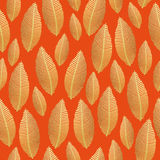 Seamless leaf pattern with gold foil texture Stock Photography