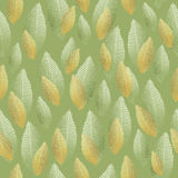 Seamless leaf pattern with gold and silver foil texture Royalty Free Stock Photo