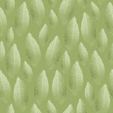 Seamless leaf pattern with silver green foil texture Stock Photo