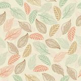 Seamless leaf pattern in vector. Delicate Retro Light autumn leaf seamless background in vector Stock Photo