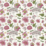 Seamless leafs pattern. Vector floral seamless pattern with fantasy blooming flowers stock illustration
