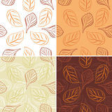 Seamless leafy background. Four patterns Stock Photography