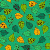 Seamless leafy wallpaper tile. Vector leafy wallpaper tile in green tones stock photography