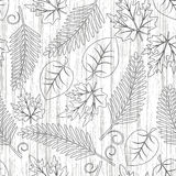 Seamless  with leaves. Grunge seamless pattern from   contours of leaves(can be repeated and scaled in any size Royalty Free Stock Photo