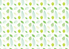 Seamless leaves background in green. A hand drawn leaves seamless background in green color Royalty Free Stock Photo