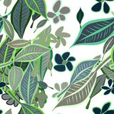 Seamless leaves & flower illustrations background abstract, hand drawn. Wallpaper, set, style & decoration. Seamless leaves & flower illustrations background Royalty Free Illustration