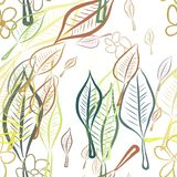 Seamless leaves & flower illustrations background abstract, hand drawn. Concept, nature, canvas & repeat. Seamless leaves & flower illustrations background royalty free illustration
