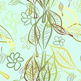 Seamless leaves & flower illustrations background abstract, hand drawn. Design, cartoon, effect & decoration. Seamless leaves & flower illustrations background Vector Illustration