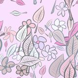 Seamless leaves & flower illustrations background abstract, hand drawn. Nature, creative, design & pattern. Seamless leaves & flower illustrations background Vector Illustration