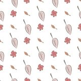 Seamless leaves & flower illustrations background abstract, hand drawn. Pattern, cartoon, sketch & style. Seamless leaves & flower illustrations background Stock Illustration