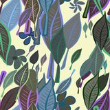 Seamless leaves & flower illustrations background abstract, hand drawn. Set, messy, repeat & vector. Seamless leaves & flower illustrations background abstract Royalty Free Illustration