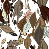 Seamless leaves & flower illustrations background abstract, hand drawn. Style, drawing, template & creative. Seamless leaves & flower illustrations background Royalty Free Illustration