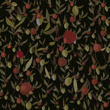 Seamless leaves and flowers pattern Stock Illustration
