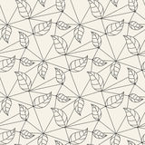 Seamless leaves line pattern tile background Royalty Free Stock Images