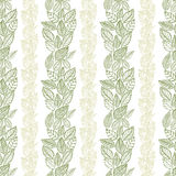 Seamless leaves pattern, floral wallpaper, hand drawn, vector. Stock Photography