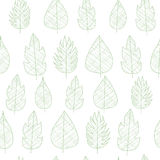 Seamless leaves pattern, green on white. Background stock illustration
